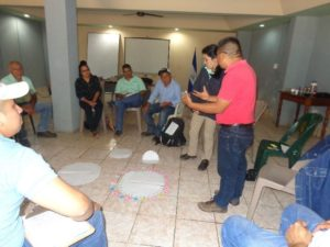 Imagen 2 -Técnicos/as facilitadores de Escuelas de Campo de Agricultores validando un ejercicio para aprender el concepto de pH del suelo.